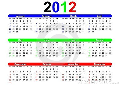 2012 Calendar Template Stock Photos - Image: 21874543