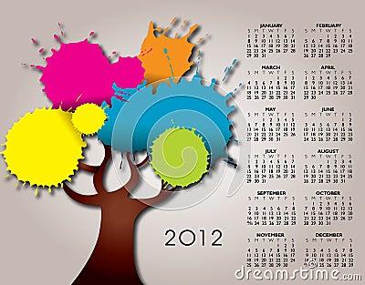 2012 calendar with tree