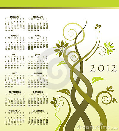 2012 calendar with vines