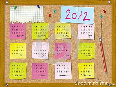 2012 calendar - week starts on Sunday