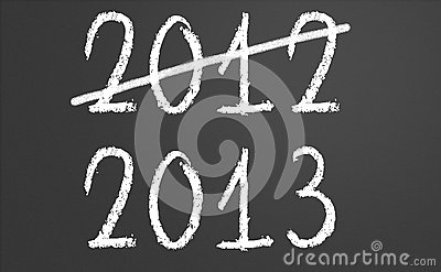 2012 crossed and new year 2013 on chalkboard