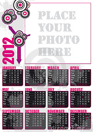 2012 english calendar with photo frame