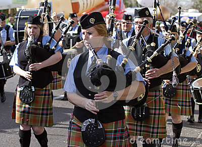 2012 Fiesta Bowl Parade Bagpipers Editorial Photography