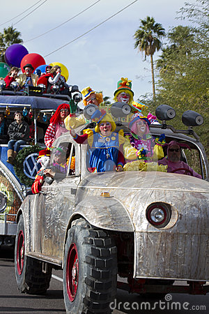 2012 Fiesta Bowl Parade Oversize Car Clowns Editorial Photo