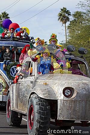 2012 Fiesta Bowl Parade Oversize Car Clowns Editorial Photo