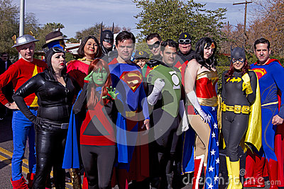 2012 Fiesta Bowl Parade Super Heroes Editorial Stock Image
