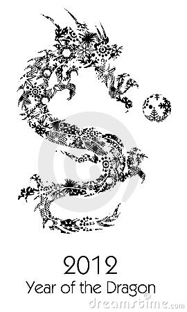 2012 Flying Chinese Snowflakes Dragon Clipart