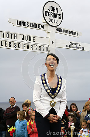 2012 John O Groats sign, Caithness Convener Editorial Photo