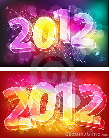 2012 on neon background
