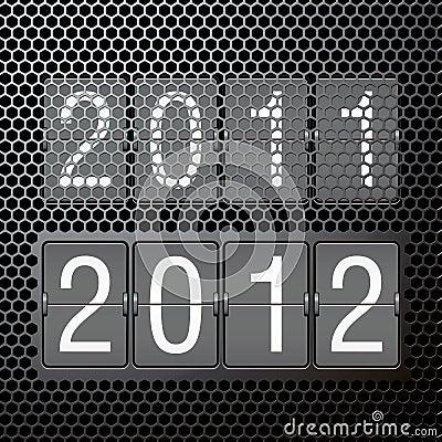 2012 new year on mechanical scoreboard