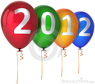 2012 New Year party balloons multicolor