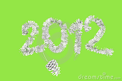2012 New Year s made of silver tinsel