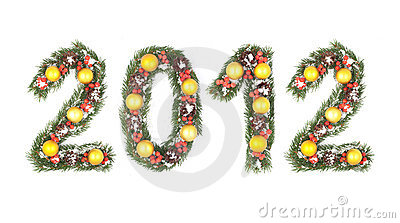 2012 number written by christmas tree branches