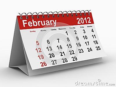 2012 year calendar. February