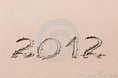 2012 Year written on the sand