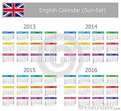 2013-2016 Type-1 English Calendar Sun-Sat