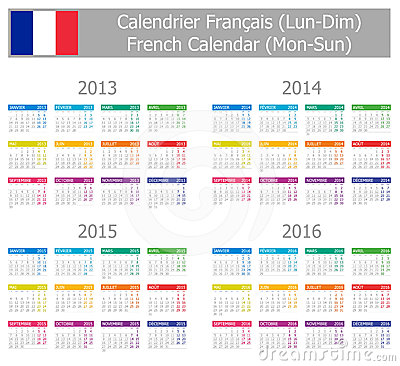 2013-2016 Type-1 French Calendar Mon-Sun