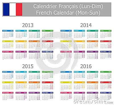 2013-2016 Type-1 French Calendar Mon-Sun