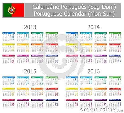 2013-2016 Type-1 Portuguese Calendar Mon-Sun