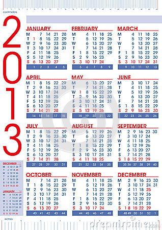 2013 calendar in english with rulers
