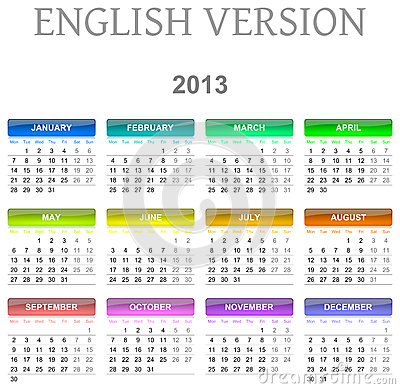 2013 calendar english version