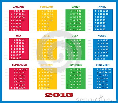 2013 Calendar Template Colorful
