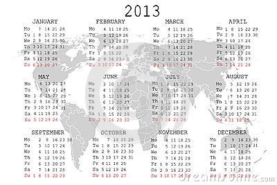 2013 Calendar With World Map Stock Photos - Image: 25435543