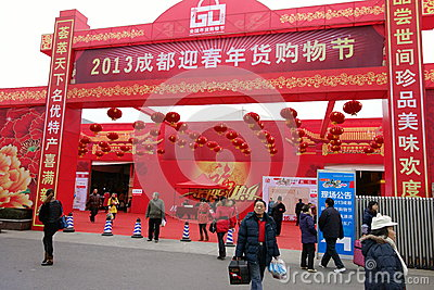 2013 chinese new year shopping in Chengdu Editorial Stock Photo