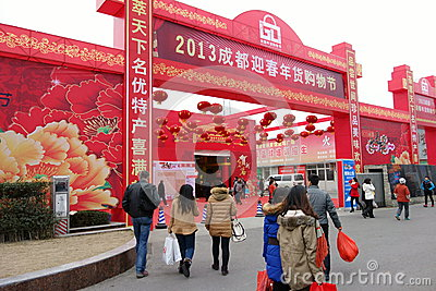 2013 chinese new year shopping in Chengdu Editorial Photography