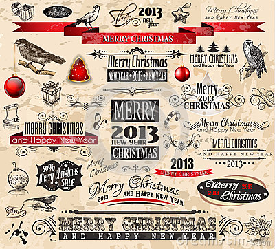 Free 2013 Christmas Vintage Typograph Design Elements Royalty Free Stock Photography - 26730987