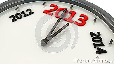 2013 dans une horloge dans 3d