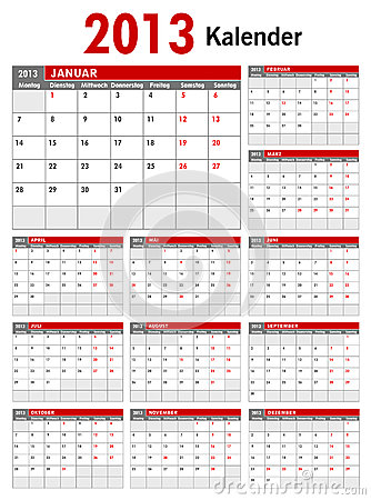 2013 German Business Calendar Template