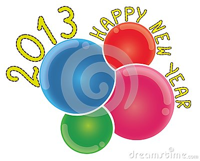 2013 Happy New Year on Abstract Colorful Bubbles