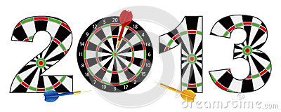 2013 New Year Dartboard with Darts Illustration
