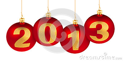 2013 new year digits made of christmas red balls