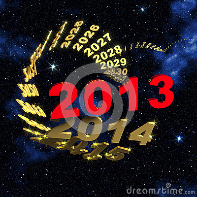 2013 new year in front of spiral of time
