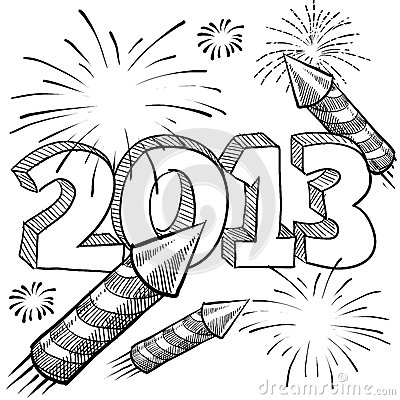 2013 New Year s fireworks vector