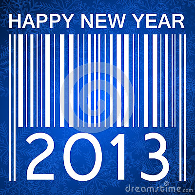 2013 new years illustration with barcode