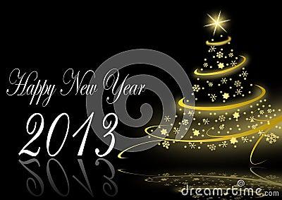 2013 nieuwe jarenillustratie met Kerstmisboom