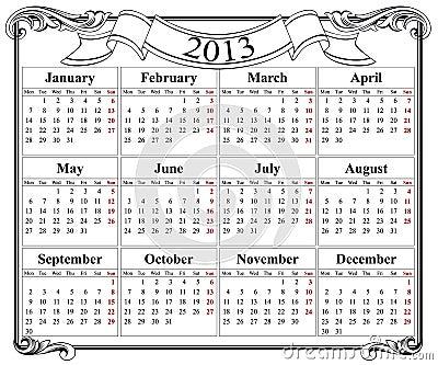 2013 retro calendar grid
