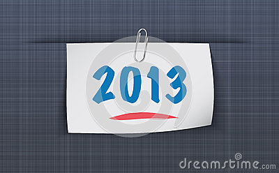 2013 on sticky attached to the linen texture
