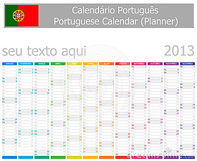 2013 Type-1 Portuguese year planner vertical month