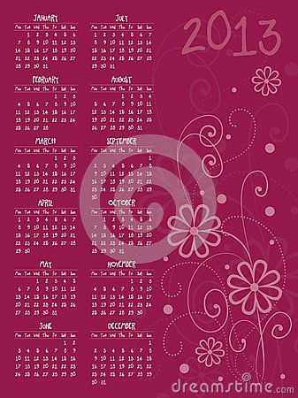 2013 vector calendar with flowers