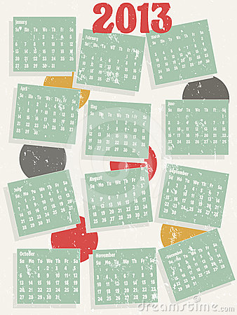 2013 vintage style calendar