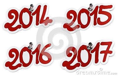 2014, 2015, 2016, 2017 Year Stickers Royalty Free Stock Photos - Image: 27045208