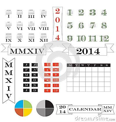 2014 calendar and elements