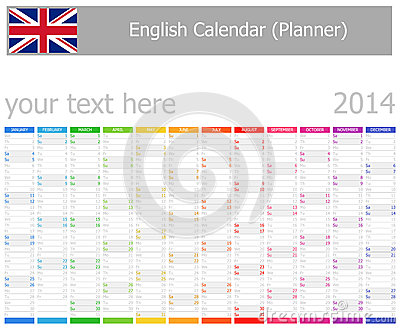 2014 English Planner Calendar with Vertical Months