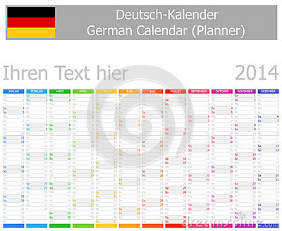 2014 German Planner Calendar with Vertical Months