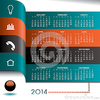 Free 2014 Infographic Calendar Stock Image - 34402941