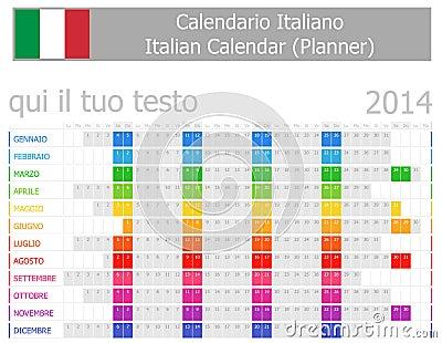 2014 Italian Planner Calendar with Horizontal Months
